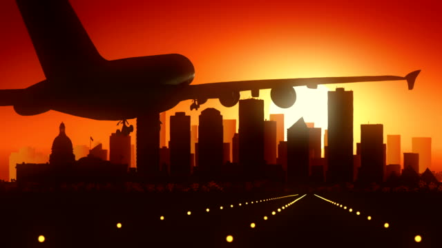 Edmonton Canada Airplane Landing Skyline Golden Background video