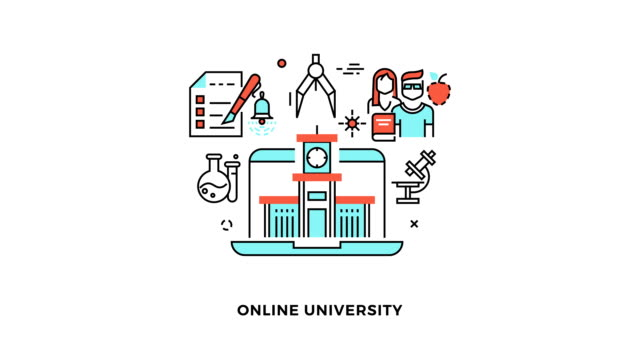 Education and online learning flat linear design concepts animation video