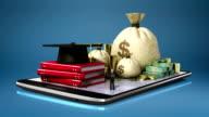 Education expenses loan, graduation cap on smart phone, pad, mobile. video