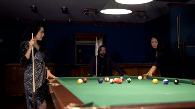 three ladies are playing billiards and having unforgettable threesome  23989