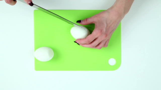 Eggs cut into pieces video