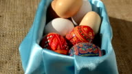 Eggs in a basket against a sacking. video