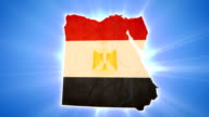Egypt map with Egyptian flag on blue background video