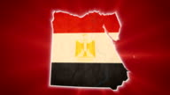 Egypt map with Egyptian flag, red background, conflict civil war video