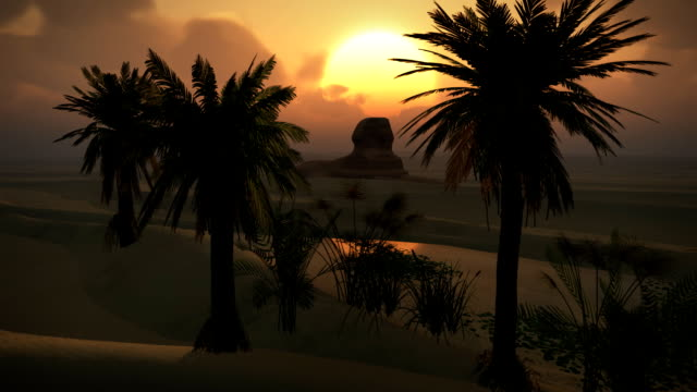 Egyptian Sphinx Desert Sandstorm Sand Dunes Oasis Sunset Clouds LOOP video