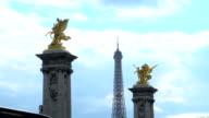 Eiffel Tower behind Pont Alexandre III, Paris video