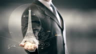 Eiffel Tower Businessman holding in Hand Landmark New technologies video