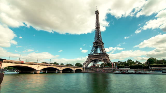 Eiffel Tower by The Seine River & Boats 2, Paris, Time Lapse video
