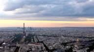 Eiffel Tower in Paris at atmospheric dusk video