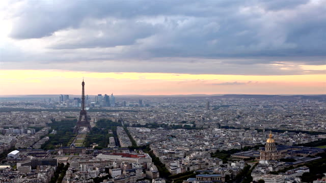 Eiffel Tower in Paris at atmospheric dusk video