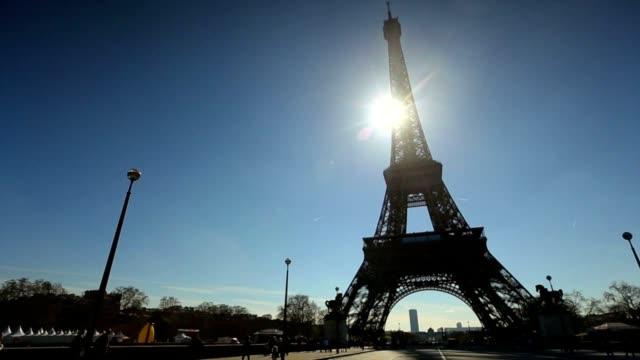 Eiffel Tower pan camera HD video