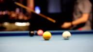 Eight-ball pool billiards player hesitates next shot video