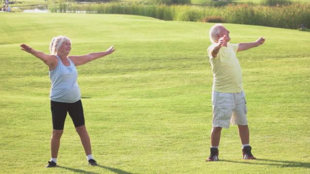 Elderly couple doing exercise. video