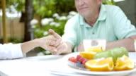 Elderly couple holding hands in a garden. video