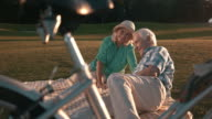 Elderly couple lying on blanket. video