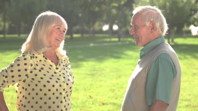 Elderly couple talking. video