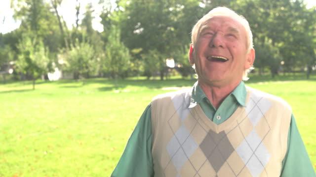 Elderly man is laughing. video