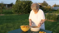 Elderly woman separates chanterelle mushrooms video