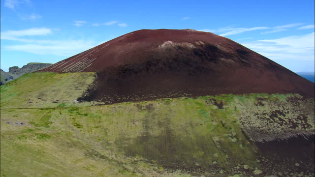 Eldfell Volcano And Lava Flow  - Aerial View - South, Iceland video