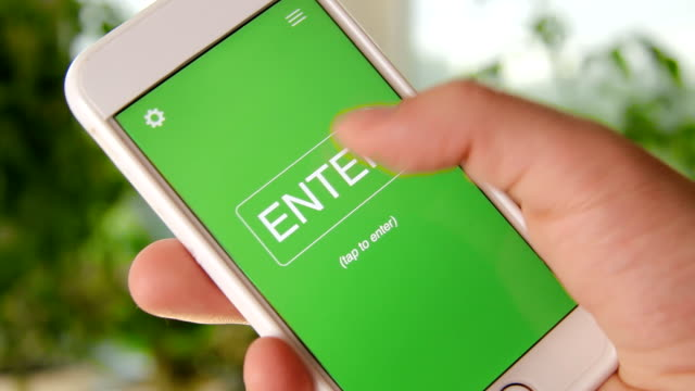 E-learning concept application on the smartphone. Man uses mobile app. video
