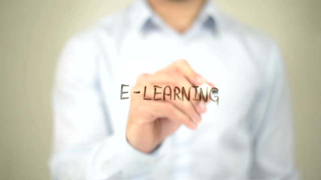 E-Learning, Man writing on transparent screen video