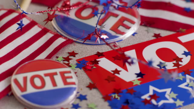 Election & Vote signs, buttons and decorations video