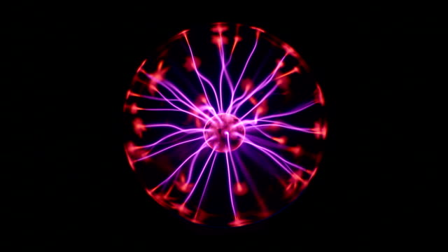 Electric ball on the black background. video