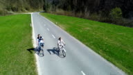 Electric bikes riders view from air video