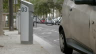 Electric car at power supply station in the city video