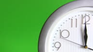 Electric clock isolated on green video