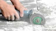 Electric cutter (grinder) cutting concrete floor video