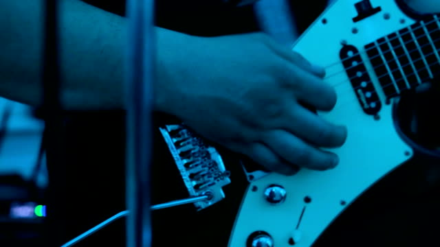 Electric guitar playing close up video