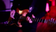 Electric guitar playing on stage at rock concert video