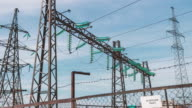 Electric high-voltage substation. Renewable clean energy. Electric generators and wires on the support. Energy industry. Power generation and transportation video