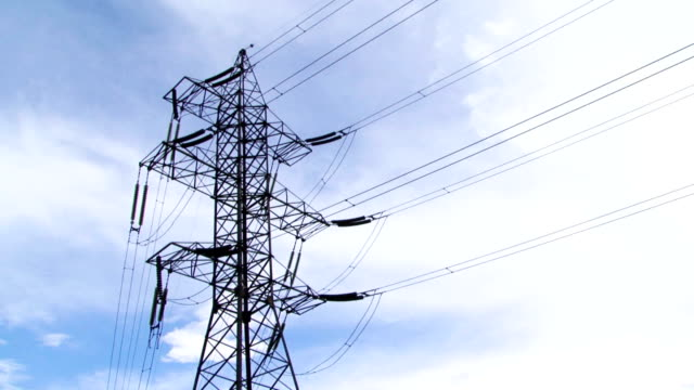 Electric Powerline On Cloudy Sky Background video