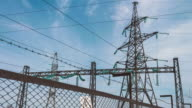 Electric support of a high-voltage power line. Substation behind the fence. Electric power industry. Production and transportation of electricity by wire video