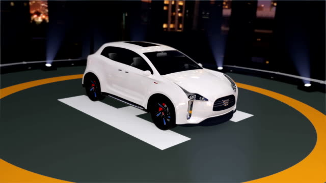 Electric SUV parking on the helipad video