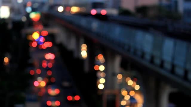 Electric train and traffic at bangkok video