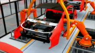 Electric vehicles battery assembly line video