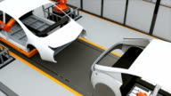 Electric vehicles body assembly line video