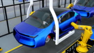 Electric vehicles  doors assembly line video
