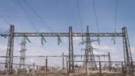 Electrical engineering structures at a power plant. High-voltage wires on supports. power lines. Distribution and transportation of electricity video