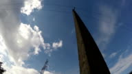 Electrical pylon and electrical pole, time lapse video