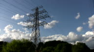 Electrical pylons in the country. Timelapse. video