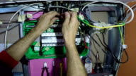 Electrician Hands With New Power Control Panel Close Up video
