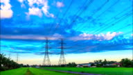 electricity high voltage power pylon at morning video