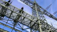 HD Electricity Pylon Close-up TL Panning video