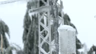 Electricity Pylons Encapsulated In Glaze Ice video