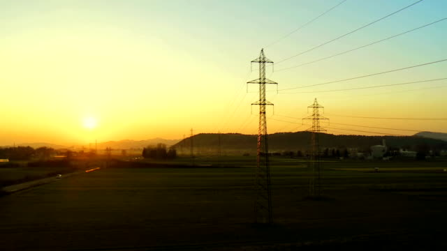 Electricity Pylons In The Countryside video
