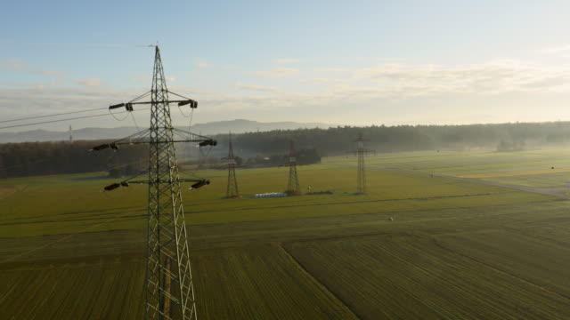AERIAL Electricity pylons on the field video